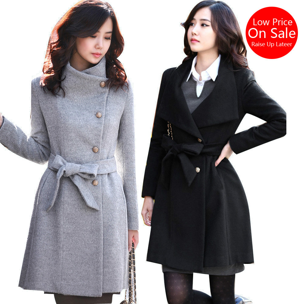 Fall Spring Winter women woolen coat Button Warm selling slim Turtlneck Bow Belt Female Lady coat thick wool outwear new Korean(China (Mainland))