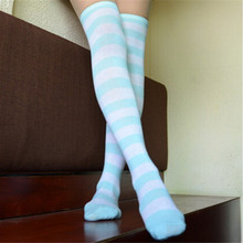 Vogue Women  Thigh High Striped Over the Knee Cotton Stockings
