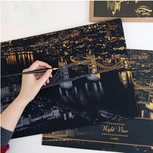2016 Fashion  DIY Drawing Picture Wall Painting Scratch Card 9 City Golden Night View Paint Arts Paper Home Decor (China (Mainland))