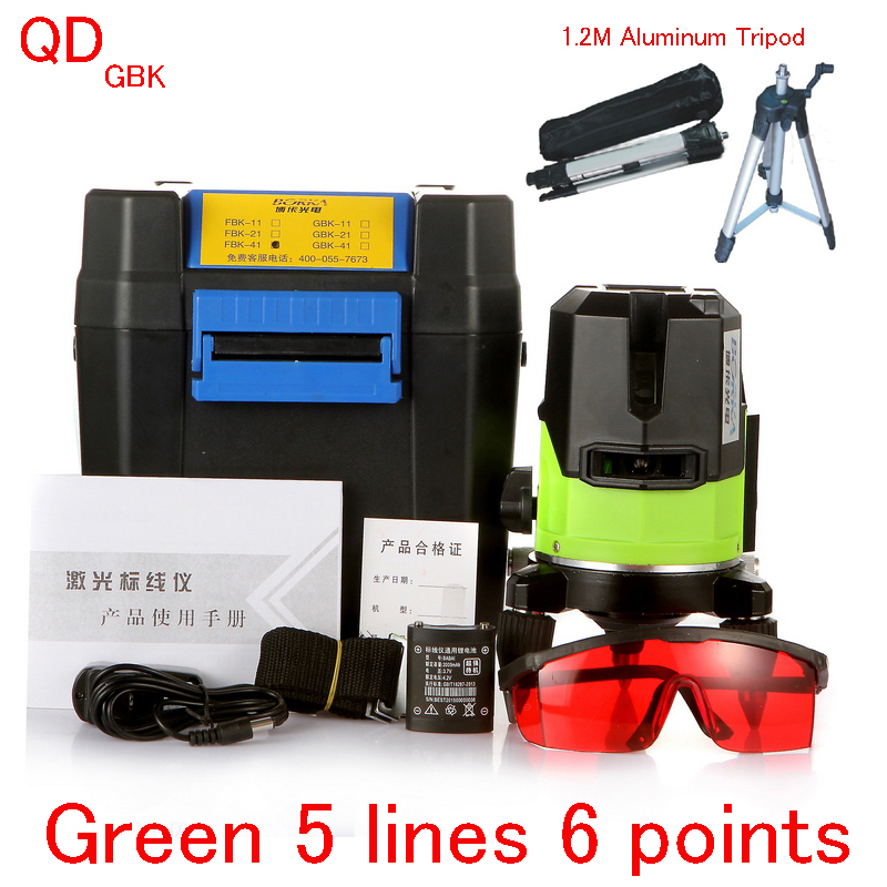 5 Lines 6 Points Green Line Laser Level 360 Self Levelling Rotary Cross Outdoor Glare Nivel Laser Gbk +1.2m Aluminum Tripod(China (Mainland))