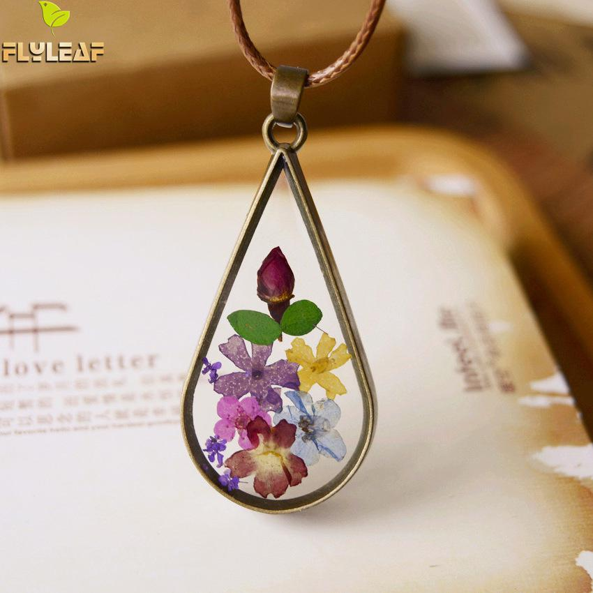 Flyleaf Handmade Vintage Style Natural Dried Flowers Long Necklaces & Pendants Women Retro Girl Gift Bronze Jewelry