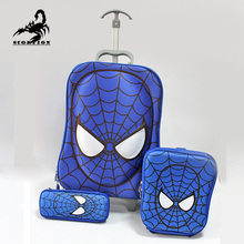 3 PCS Spiderman Trolley Suitcase Set Kids Cartoon Spider Man Luggage with Wheels Children Bags for Lunch Pencil Case for School(China (Mainland))