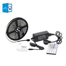 Buy 5M Waterproof RGB Strip Light Flexible Strip light 5050 SMD rgb diode led tape + IR 44 Keys Remote Controller+12V 5A Adapter for $19.57 in AliExpress store