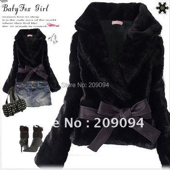 New Short Coat Women's Korean Style Outwear Belted Faux Fur Rabbit Hair free&drop shipping