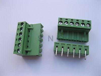 Фотография 120 pcs 5.08mm Angle 6 pin Screw Terminal Block Connector Pluggable Type Green
