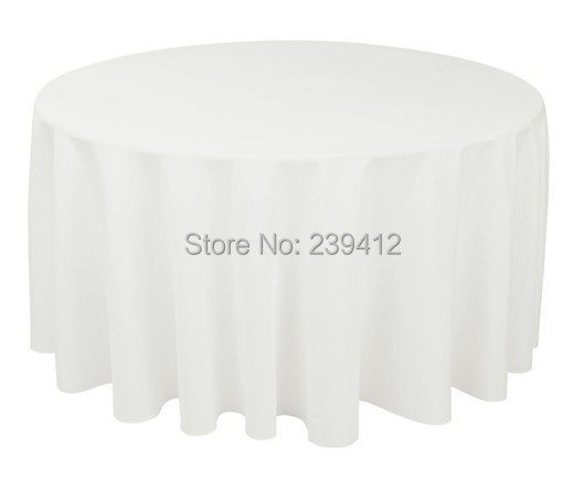 """120"""" Round 210GSM White Polyester Plain Table Cloth for Weddings Events &Banquet &Party Decoration(China (Mainland))"""