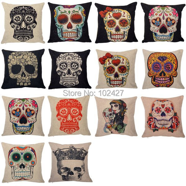 HOT almofada Wholesale Colorful Skull Throw Case Cover Vintage Linen Cotton Throw Pillow Cushion Covers for Car Sofa Home Decor(China (Mainland))