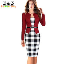 2016 Women Elegant Belted Tartan Long Sleeve Patchwork Tunic Work Business Casual Party Bodycon Pencil Sheath Dress WD277