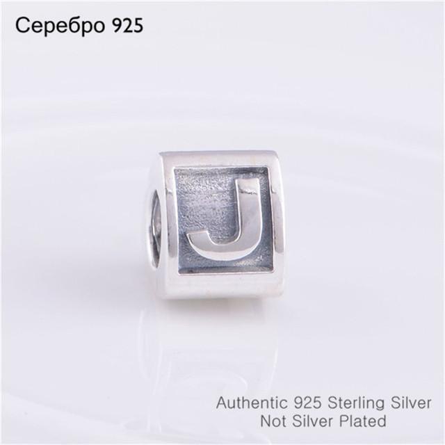 Новое письмо wj гарантировано 925 Alphabate характер свободно прокладка очарование бусины, Diy ювелирных изделий Fit пандора браслет