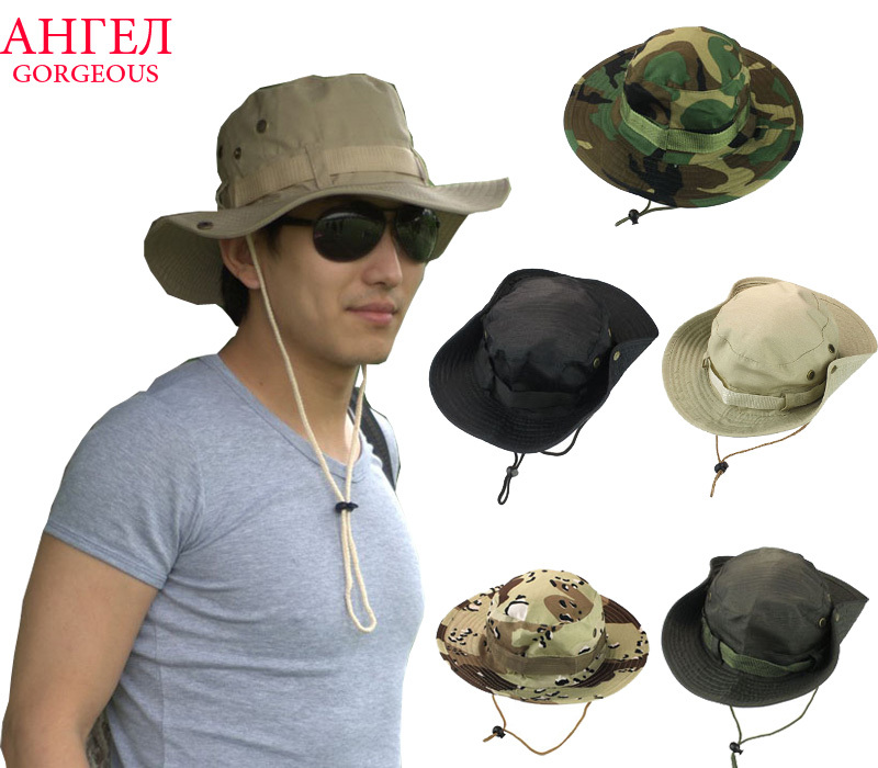 Hot Sale Fashion Unisex Bucket Hat Women Men Gorra Boonie Hat Hunting Fishing Outdoor Wide Military Cap Sun Casual Military Hat(China (Mainland))