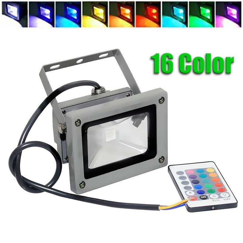 Dimmable Waterproof 10W RGB 16 Color Changing Outdoor Remote Control LED Flood Light(China (Mainland))