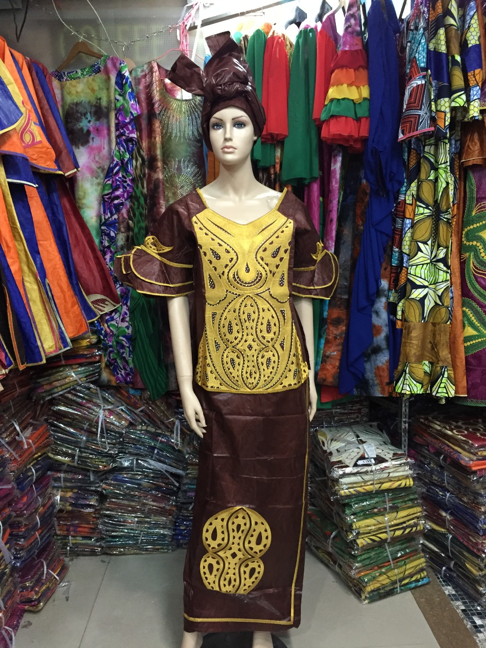 2016 African Bazin traditional cotton embroidery craft headscarves three-piece suit jacket of the dress(FREE DHL)M2401