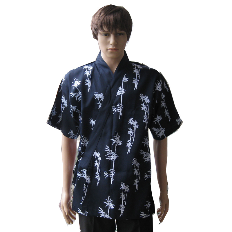 Sushi clothes,New bamboo pattern,Barbecue chef uniforms,Navy blue(China (Mainland))