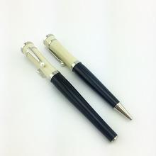 2 шт. высокое качество грета гарбо черный и серебро смола ролик + шариковая ручка с жемчужиной золото клип горячая распродажа mb бренд ручка
