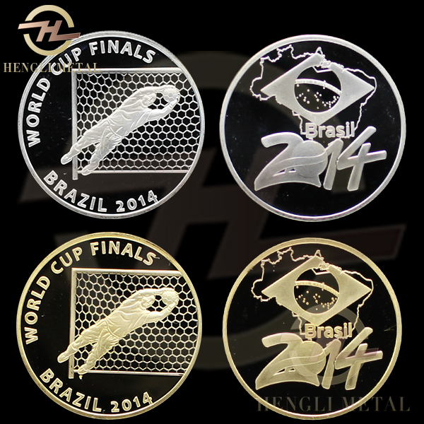 2pcs/lot Brazil Football Soccer World Cup 2014 - Goalkeeper SAVE - 1 Oz. Silver & Gold Plated Token Coin Sport Medal(China (Mainland))
