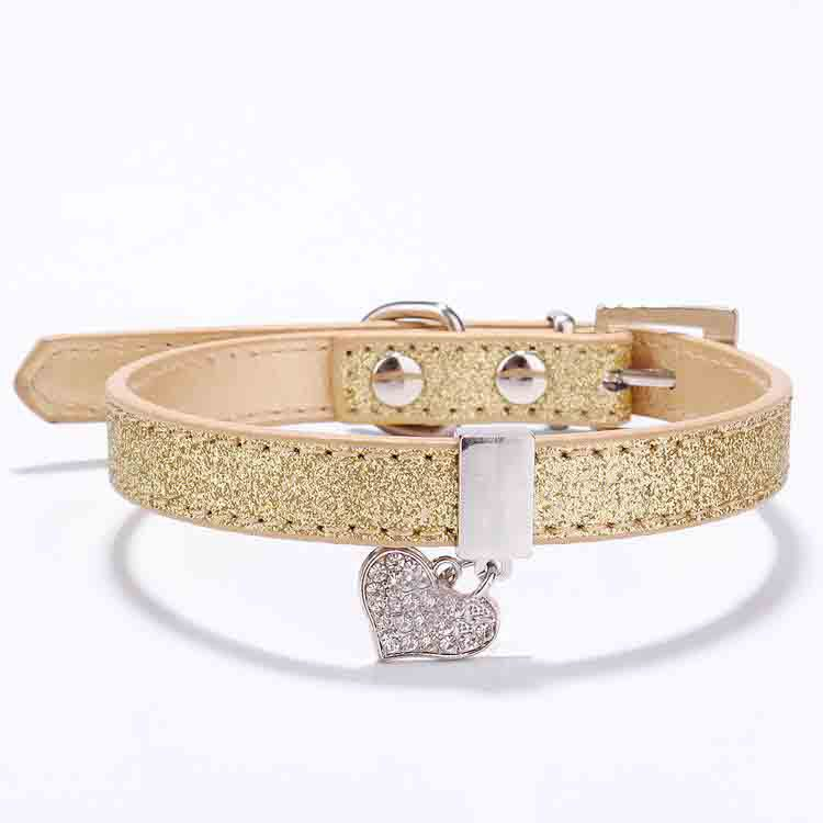Glitter Pu Leather Dog Collars For Pet Puppy Dog With Rhinestone Bling Heart Diamond Pendant Size XS S 4 Colors Free Shipping(China (Mainland))
