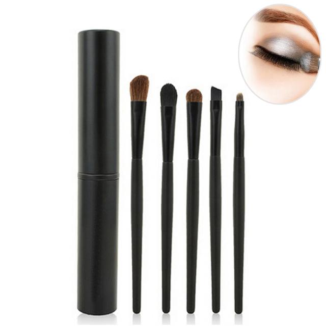 5 шт. профессиональный тени для век, Черный / розовый губ-мягкая пони макияж кисти ...