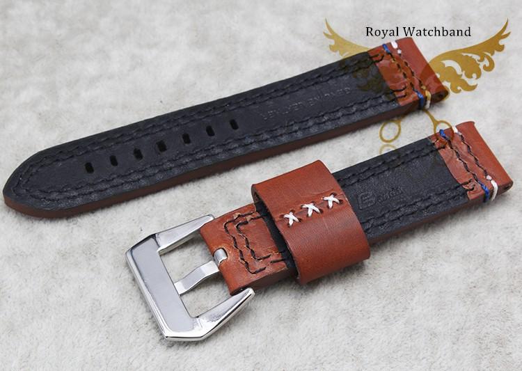 22 мм 24 мм Мужчины Новый Высокое Качество Браун Натуральная Кожа Смотреть Ремешок Ремешок