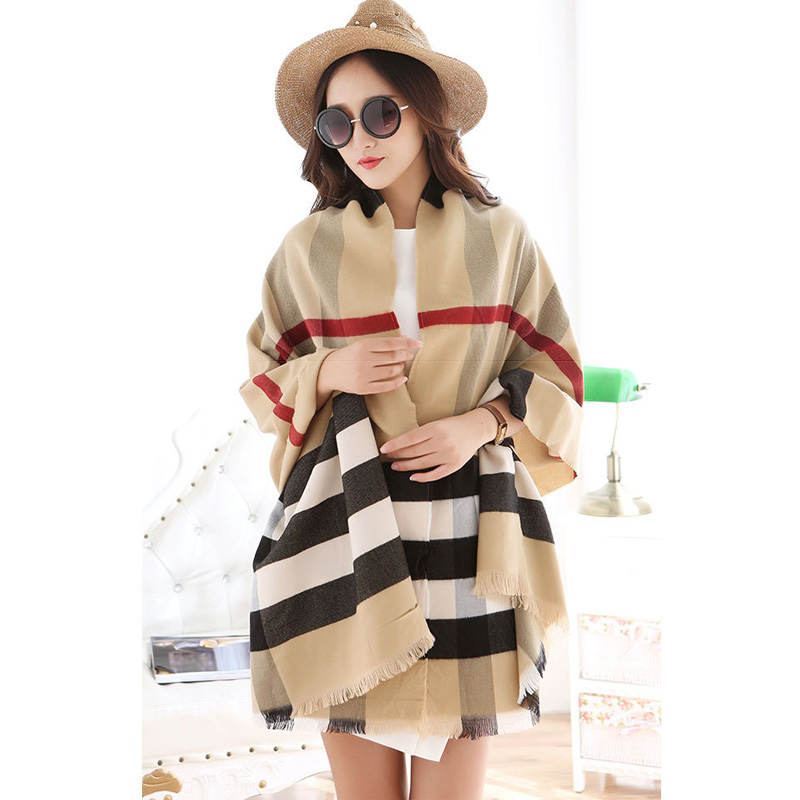 Burbep New Brand Winter Scarf for Women 100% Cashmere Echarpe Plaid Female Wrap Shawl Pashmina Bufandas Wool Bandana(China (Mainland))