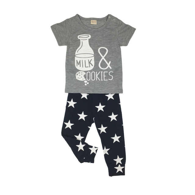 summer baby boy/girl clothes newborn fashion milk printed t-shirt+pants