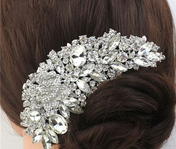 Free Shipping Rhinestone Crystals Comb Clear Flower Hair Comb For Wedding Women Jewelry Hair Accessories Bridal Comb 2015 New(China (Mainland))