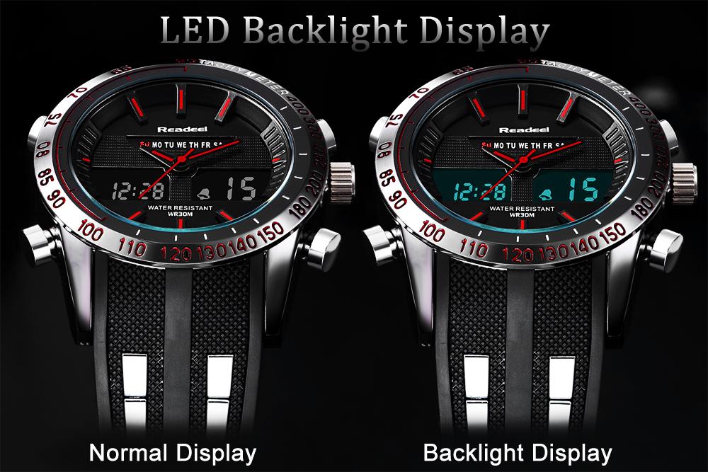 Роскошные брендовые часы мужские спортивные водонепроницаемый светодиодный 04