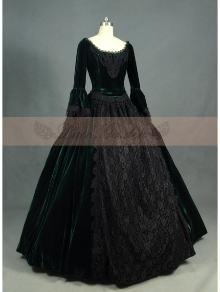 Green and Black Velvet Lace Victorian Ball Gowns(China (Mainland))