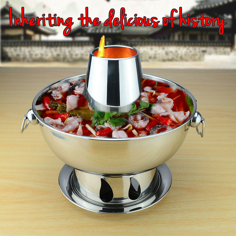 1.8 liters High quality stainless steel hot pot, Chinese fondue Lamb Chinese Charcoal hotpot outdoor cooker picnic cooker(China (Mainland))