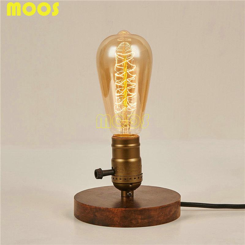 Vintage Edison Bulb Vintage Table Lamp Copper Desk Lamp Wood Base bedroom bedside lamp Home decoration table lamp(China (Mainland))
