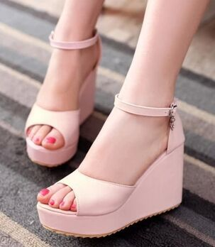 Ultra high heels sandals plus size 42 43 women's shoes small yards 31 32 wedges fish mouth waterproof buckles party sheos(China (Mainland))