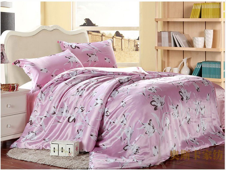 pink lily floral luxury silk satin bedding comforter set for king