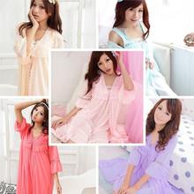 viscose lace robe women's sexy sleepwear spaghetti strap nightgown robe twinset lengthen edition  pajamas(China (Mainland))