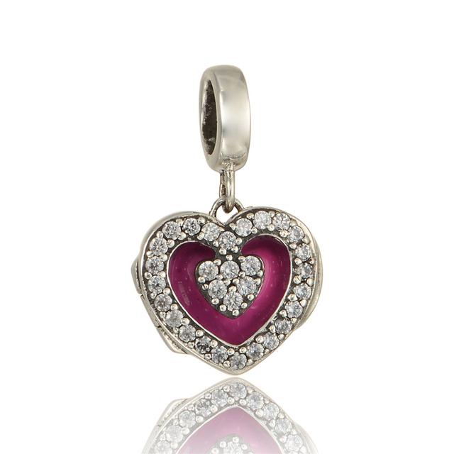 925 - серебристо-ювелирные эмаль красное в форме сердца CZ бусины подходящий европейский оригинальный подвески браслет DIY поиск новых S288