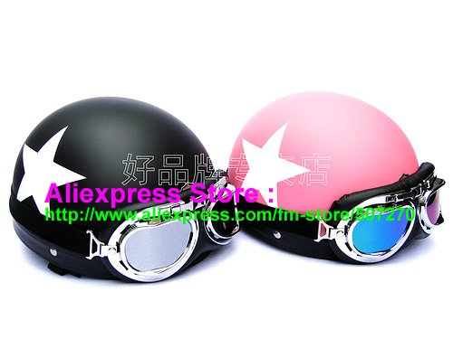 Фотография 2 Unit ABS Half Bol Vespa Cycling Half Face Motorcycle Matt Black + Pink # White Star Helmets Motorbicycle Casque & Goggles