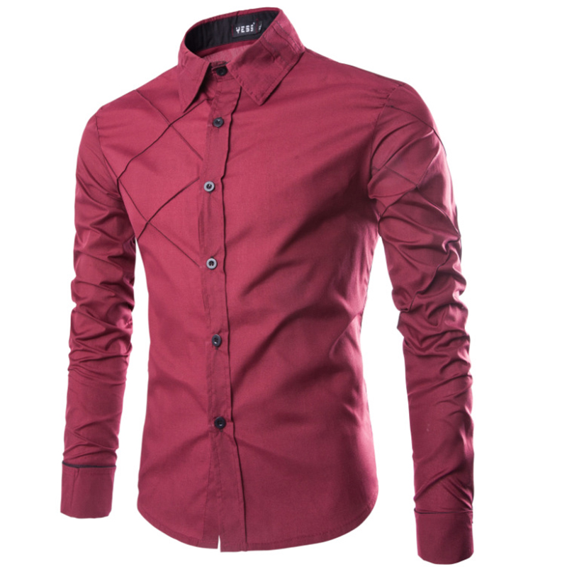 [MASCUBE]Best Selling Soft Men Shirt Long Sleeve Single Breasted Business Style Blouse Solid Color Fitness Leisure Cloth for Man(China (Mainland))