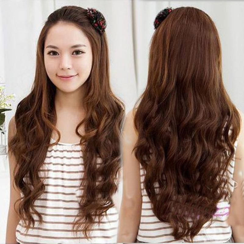 Гаджет  Free Shipping Womens Girls 4 color New Fashion Romantic 3/4 Full Hair Long Wavy Curly Half Wig Black Brown Flaxen #L04039 None Волосы и аксессуары