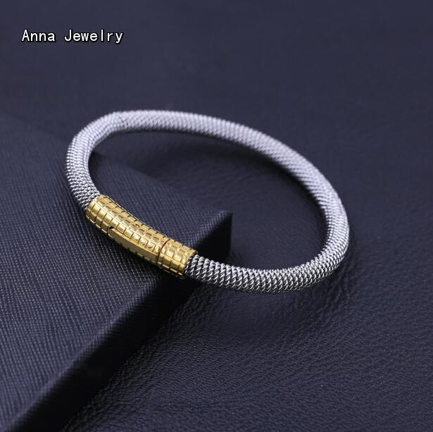 Anna Original Designs Steel Weave Cuff Bracelet,Simple Style Lengthened Chain Bracelet For Men,With 18K Yellow Gold Push Clasp(China (Mainland))