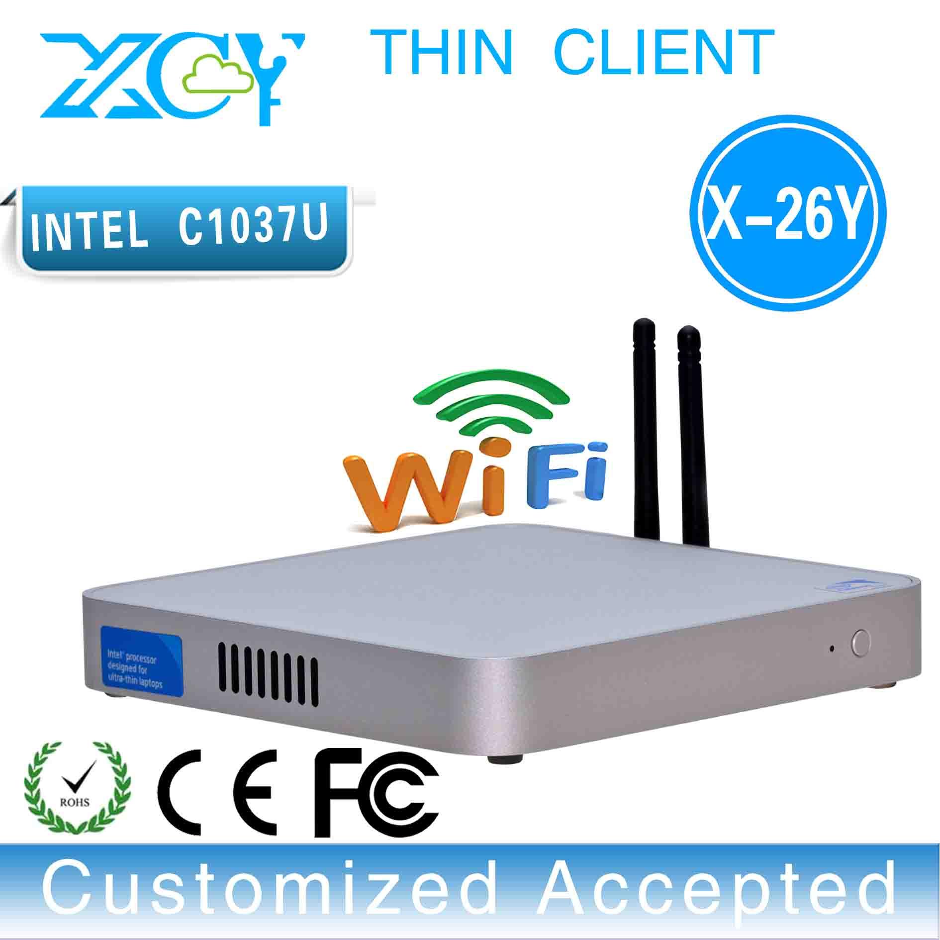 XCY Fanless Industrial Mini PC Intel Celeron C1037U DDR3 Embedded Desktop Computer OS Box PC Mini Server Thin client Terminal(China (Mainland))