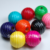 Multicolour stripe beads threaded wood bead