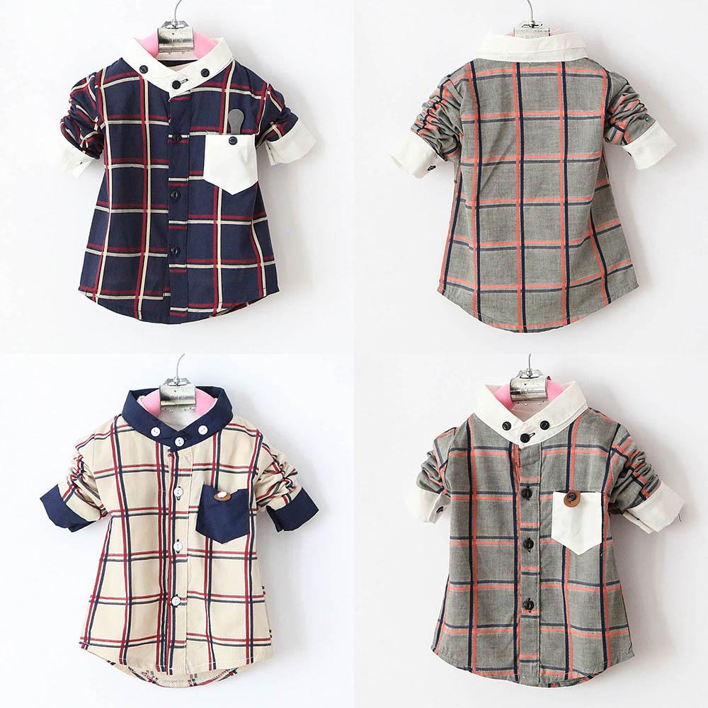 Гаджет  Hot Boys Kid Long Sleeve Shirt Baby Stand Collar Plaid Shirts Tops Coat Clothes Free Shipping None Детские товары