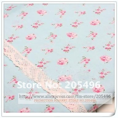 Free shipping! Rose printed Pattern Textile cotton material Fabric cloth blue for clothing pillowslip quilt Yard wholesale(China (Mainland))
