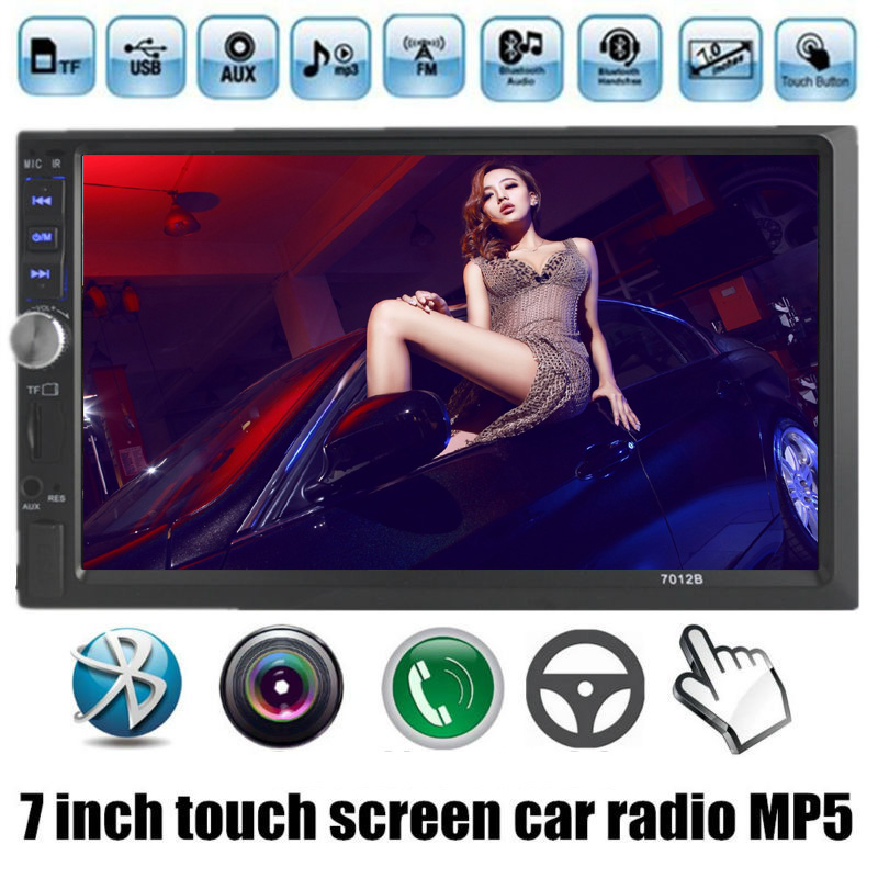 7 Inch 2 din Touch Screen Bluetooth 12V Support Rear View Camera FM USB TF AUX Car MP5 MP4 Player radio 4 languages menu(China (Mainland))