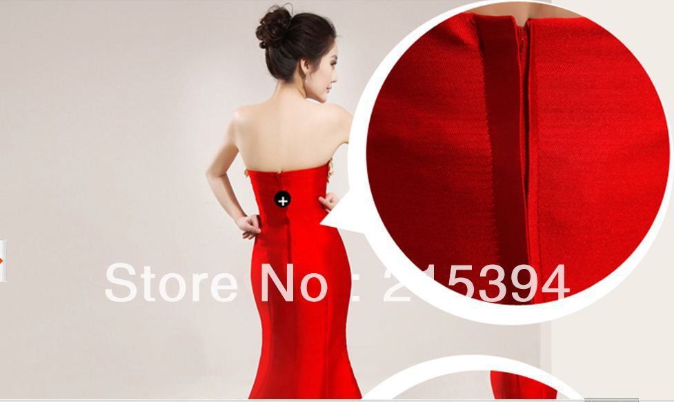 Style strapless dress red