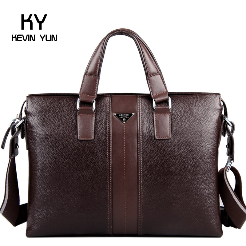 Free shipping P.Kuone designer brand 100% cowhide genuine leather handbags man leather business briefcase mens messenger bags<br><br>Aliexpress