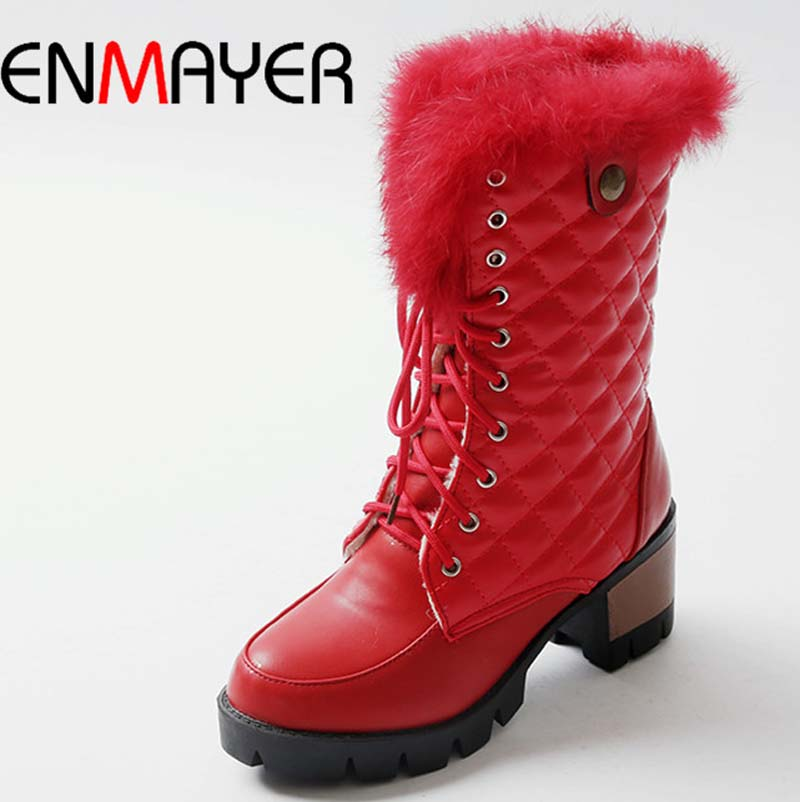ENMAYER Warm Snow Boots Shoes New Hot Feathers Fashion Round Toe High Boots Lace-Up PU Ankle Boots For Women Black, white, red<br><br>Aliexpress