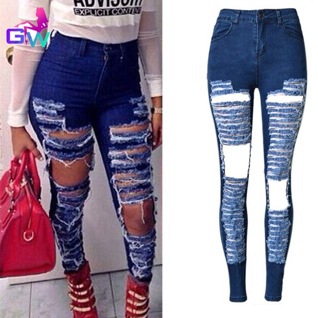 Женщин рваные джинсы 2016 весной новинка уличный стиль тонкий микро-стрейч джинсы ...