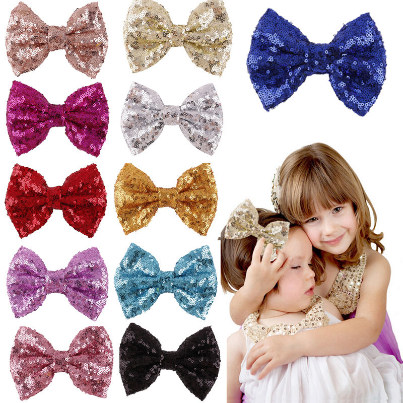 2016 New Cute Bow Shining Butterfly Hair Clip Sequin Bow Baby Toddler Kids Head Hair Acessories For Girls(China (Mainland))