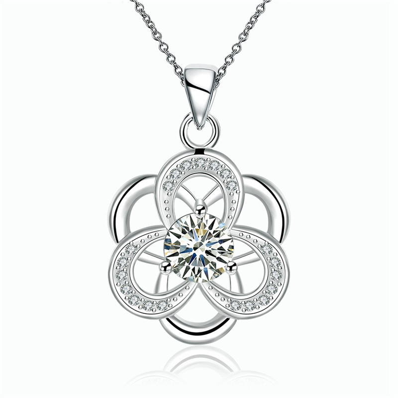 Hot Sale Europe Trendy Hollow Flower Design Pendant Necklace Silver Plated CZ Diamond Fashion Jewelry For Women Vintage QA0119(China (Mainland))