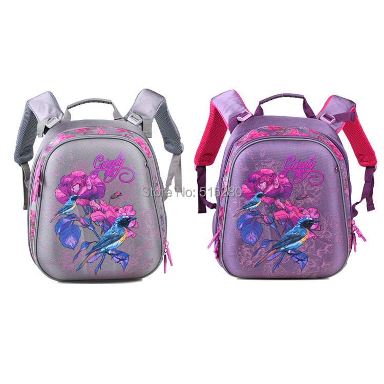 2015 New Children Backpack Student School Bags Birds& Flower 3D PU Lightweight Shoulder Mochila Teenage Girls Kids