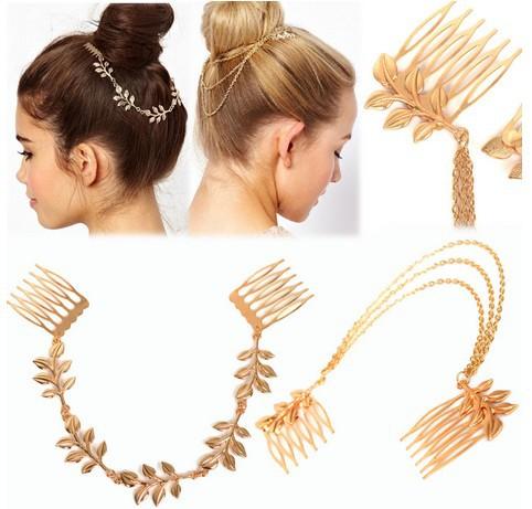 Fashion Women's Gold P Leaf Hair Comb Clip Cuff Tassel Chain Head Headpiece Boho(China (Mainland))